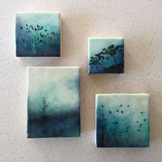 """""""Of flora and fauna"""" series and (the tree) """"Blue solitude"""" Encaustic artwork by Alanna Sparanese"""