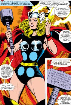 """why-i-love-comics: """"What if? - """"What if Jane Foster Had Found – the Hammer of Thor?"""" """"written by Don Glut art by Rick Hoberg, Dave Hunt, & Carl Gafford """" """" Hq Marvel, Marvel Comic Universe, Marvel Heroes, Lady Thor, Lady Sif, Comic Movies, Comic Books Art, Comic Art, Book Art"""
