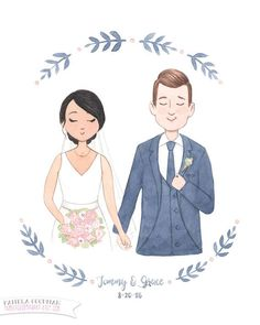 Custom Wedding Portrait Illustration - 8x10 Original Art + Digital File
