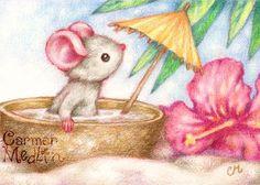 Mouse's Vacation - Cute tropical island illustration Carmen Medlin