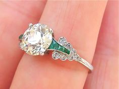 ESTATE-ART-DECO-1-8ct-EUROPEAN-CUT-DIAMOND-EMERALD-PLATINUM-RING