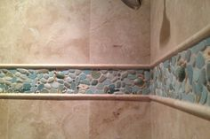 Installed in a shower surround, framed with travertine pencil liners and field tile. Beach Theme Bathroom, Beach Bathrooms, Budget Bathroom, Small Bathroom, Costal Bathroom, Neutral Bathroom, Nautical Bathrooms, Master Bathroom, Bathroom Ideas