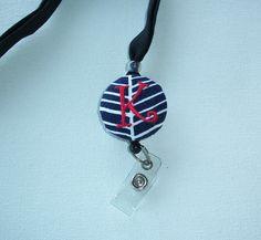Lanyard ID Badge Holder - retractable reel - breakaway -   Navy herringbone one  letter   monogram - coworker friend nurse teacher gift