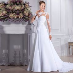 Cheap bridal gown, Buy Quality a line wedding dress directly from China chiffon wedding Suppliers: Cheap Vestido de noiva Illusion Neck A Line Wedding Dresses 2016 Chiffon Wedding Dress Vintage Vestido De Casamento Bridal Gown Scoop Wedding Dress, Long Wedding Dresses, Long Sleeve Wedding, Wedding Dress Sleeves, Elegant Wedding Dress, Cheap Wedding Dress, Bridal Dresses, Wedding Gowns, Dresses With Sleeves