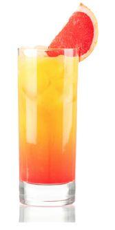Beach Babe   (1 ounce coconut rum   1/2 ounce amaretto  4 ounces orange juice  1/2 ounce grenadine  1 blood orange)