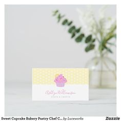 Sweet Cupcake Bakery Pastry Chef Catering, Yellow Business Card