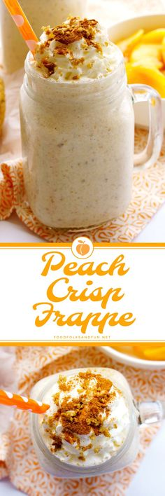 This Peach Crisp Frappe recipe tastes just like peach crisp but in a cool and refreshing frappe! It's so easy to make and you'll need just a few easy ingredients. #ad #FrappeYourWay @realreddiwip @indelight