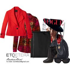 Tamale red jacket, Wildfire blouse, Gatsby black straight skirt by biseletcetera on Polyvore featuring Vince Camuto, Louis Vuitton, Chanel and Etcetera