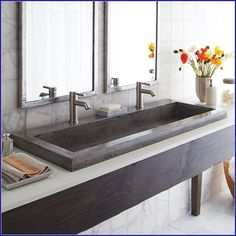 Trough Bathroom Sink With 2 Faucets