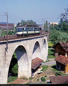 536 MThB - Mittelthurgau-Bahn ABDe 536 at Bussnang, Switzerland by Brian Stephenson Swiss Railways, Train Car, Brooklyn Bridge, Bridges, Switzerland, Transportation, Tourism, Public, Places
