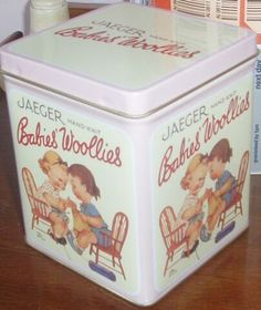 Mabel Lucie Attwell designed tin for Jaeger babies' woollies