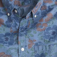 Slim cotton shirt in washed-out floral