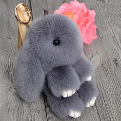 Cute Mini Genuine Rabbit Fur Pom Pom Key Chain Women Trinket Rabbit Toy Doll Bag Car Key Ring Monster Keychain Jewelry Gift ** Locate the offer simply by clicking the image