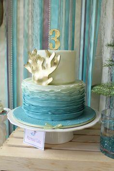Gorgeous ombre ruffle cake at a Under the Sea Mermaid Party #underthesea #mermaidpartycake