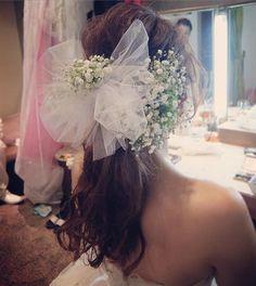 #かすみ草 と #チュールリボン のかわいいコラボ(^^) #ヘアセット#ヘアアレンジ#ヘアメイク#ブライダルヘアメイク #プレ花嫁#ウエディング#結婚式