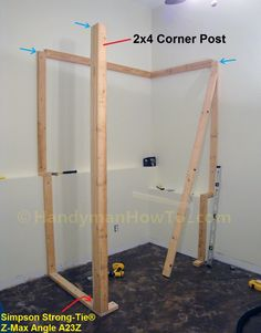 How To Build A Basement Closet Step By Step Tutorial. The Corner Post And  Door Rough Opening Are Framed In This Installment Of The Project.