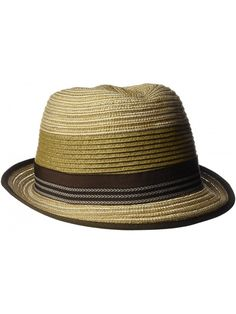 a438f248139b2 Men s Crushable Braided Strips Fedora with Contrasting Loop Band - Brown -  C112H9AL9RH