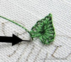 Tutorials for Hand Embroidered Leaves - Tiny Buttonhole Stitch Leaves Silk Ribbon Embroidery, Crewel Embroidery, Cross Stitch Embroidery, Embroidery Patterns, Hand Embroidery Projects, Embroidery Stitches Tutorial, Embroidery Techniques, Needlepoint Stitches, Needlework