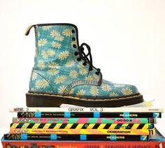 90s Vintage Dr. Martens Floral Print Boots Size 7 by Hookedonhoney Women's fashion footwear combat boots docs