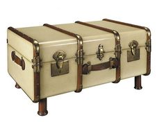 Stateroom Travel Steamer Trunk Coffee Table Antiqued Ivory