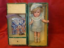"""Vintage Composition Shirley Temple Doll-13""""-1930's-Trunk and Extra Dress"""