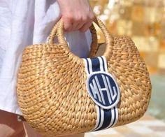 Custom monogrammed Kala basket bag with grosgrain ribbon and patch. Perfectly preppy with high quality woven straw. Choose your monogram style and ribbon color combination for a truly unique gift. Preppy Monogram, Circle Monogram, Monogram Gifts, Personalized Gifts, Preppy Girl, Straw Handbags, Basket Bag, Monogram Styles, New Bag
