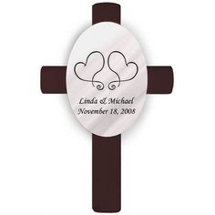 JDS Personalized Gifts Personalized Gift Oval Wedding Cross Two Hearts Unity Wall Décor