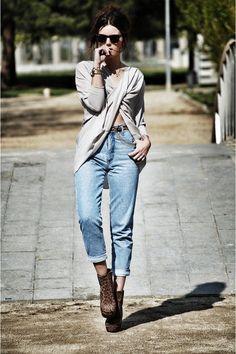 wrap sweater and boyfriend jeans