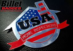 The USA_Home badge has a polished finish with red, blue and black paint fill. Fore more info visit www.billetbadges.com  #billetbadges #emblem #custom #madeinusa
