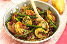 Pan-fried Jerseys with asparagus and pancetta