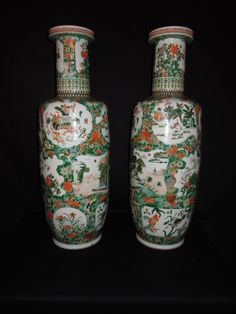 LA-5945 31''H 10''Diameter.  Pair Chinese Famille Vert porcelain vases 19th century