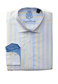 55% OFF English Laundry Men\'s Striped Dress Shirt (Blue/Yellow)