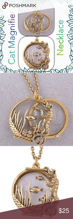 Cat Magnifier Necklace Zinc Alloy Hypoallergenic. Pendant size 4cm. 1 inch equals to 2.5cm. Gold toned. Jewelry Necklaces