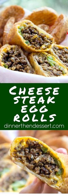 Cheesesteak Egg Rolls have all the flavors of classic Philly Cheese Steak Sandwi. Cheesesteak Egg Rolls have all the flavors of classic Philly Cheese Steak Sandwiches in a crispy shell and made with ground beef so they& easy and cheap! Crock Pot Recipes, Egg Roll Recipes, Beef Recipes For Dinner, Ground Beef Recipes, Cooking Recipes, Cooking Tips, Steak Sandwich Recipes, Cooking Beef, Game Recipes