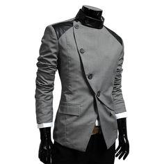 Amazon.com: TheLees Mens casual china collar rider style slim blazer jacket: Clothing