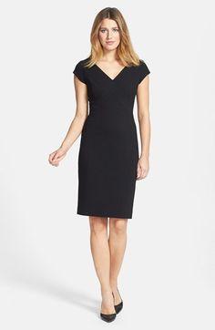 Classiques Entier® Ponte Knit V-Neck Sheath Dress (Regular & Petite) | Nordstrom