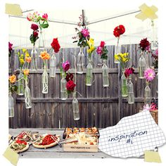garden party backdrop, would be cute with mason jars too!
