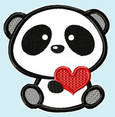Cute Love Panda Bear with Heart Applique Embroidery Design. from LunaEmbroidery via Etsy
