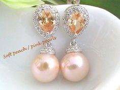 Cubic Zirconia Peach Earrings with Soft Pink by Crystalshadow