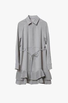 Button Front Ruffle Shirt Dress