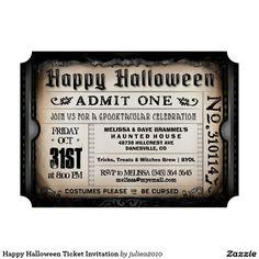 "Happy Halloween Ticket Invitation 5"" X 7"" Invitation Card"