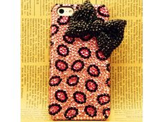 Bling bling Pink Leopard Pattern With Bow iPhone 5 Case