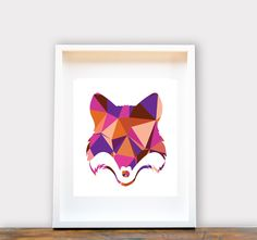 Geometric Fox Print A4
