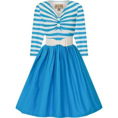 'Sinead' Medium Blue Striped Swing Dress ($20) ❤ liked on Polyvore featuring dresses, stripe dresses, v neck dress, blue striped dress, blue v neck dress and blue swing dress