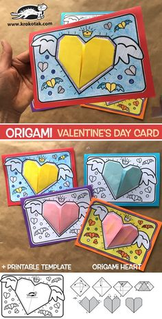 Origami Valentine's Day Card - Everything you are looking for Valentines Origami, Kinder Valentines, Valentine Activities, Valentine's Day Crafts For Kids, Valentine Crafts For Kids, Kids Origami, Origami Easy, Clock Craft, Origami Design
