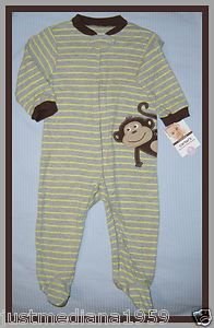 NWT-Carter's Baby Boy Lightweight Zip Up Footed Sleeper - Striped - Monkey - 9mo - Sold April 12, 2013