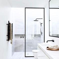 // FRIDAY FAVE @cannygroup ✔️... Legit Hip-Swinging Fave ... Tiles by @katewalker_design :) Team DS. X #designstuff #bathroom #bathroomdesign #bathroominspo #bathroomideas #bathroominspiration #ensuite #cannygroup #brighton #melbourne #australiandesign #interior #interiors #interiordesign #interiorarchitecture #australianinteriors #australianinteriordesign #showerdesign #showerscreen #black #skylight #naturallight #blackframedshower #blacktap #blacktapware #grey #tiles #interiorinspiratio...