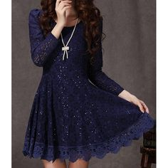 Elegant Style Long Sleeve Floral Print Round Neck Solid Color Wide Hem Dress For Women