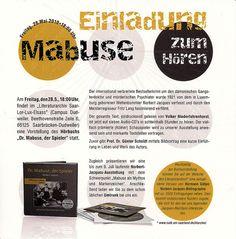 """Eine Veranstaltung für das """"Dr. Mabuse""""-Hörbuch fand in Saarbrücken statt!"""