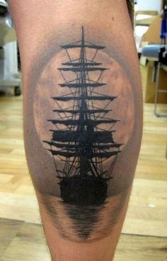 Pirate ship tattoo. Love the shading.